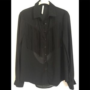 Paper Crane long sleeved low back fringe top. Sz S
